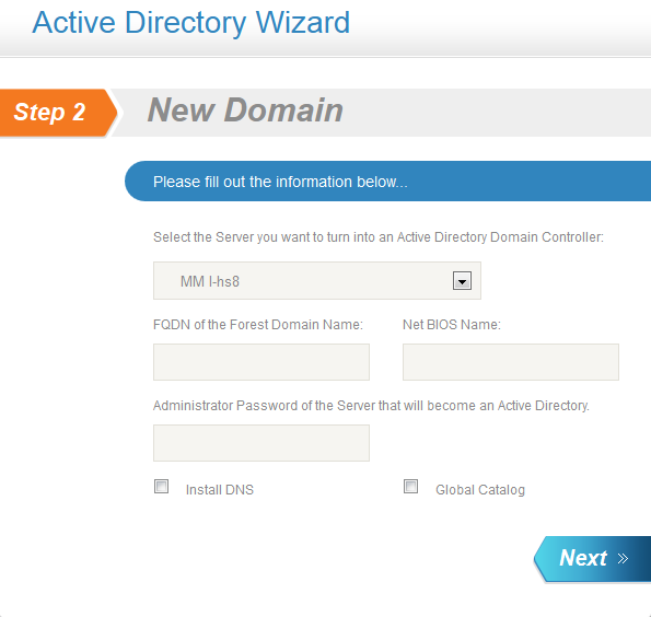 Active Directory Wizard: New Domain