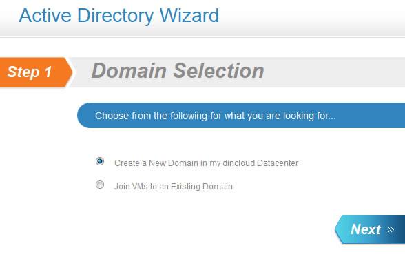Active Directory Wizard: Domain Selection