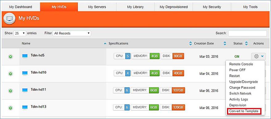 Convert Virtual Machines into Templates – dinCloud