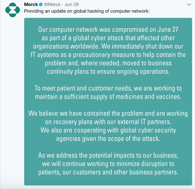 Merck Petya Cyberattack Update